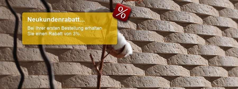 Neukundenrabatt auf alle Wandverkleidungen und Wandpaneele in Steinoptik für Haus & Wohnen